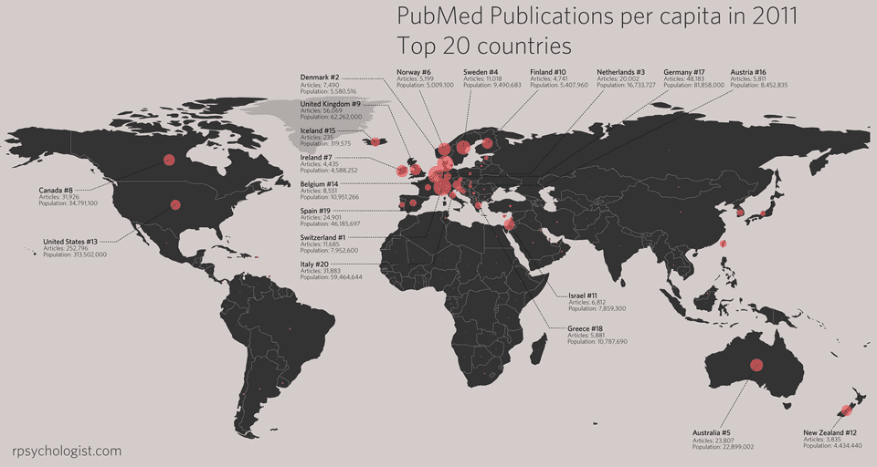 PubMed publications top 20 countries world map bubble plot. By Kristoffer Magnusson